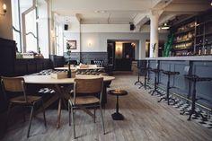 Fountain (Edinburgh), rustic bar, wood floor, charcoal grey, green ladder