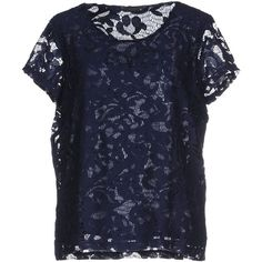 Only Blouse featuring polyvore, fashion, clothing, tops, blouses, dark blue, lace top, short sleeve lace top, short sleeve lace blouse, lacy blouses and short sleeve tops