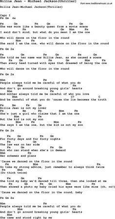 Michael Jackson Billie Jean Lyrics Song Billie Jean By Michael