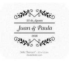 "Sello Boda ""Barroco"" - Wedding Stamp Wedding Logos, Monogram Wedding, Invitation Background, Marketing Flyers, Dear Diary, Border Design, Photo Book, Wedding Designs, Invitations"