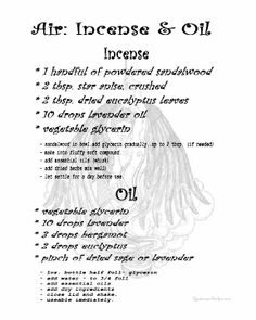Air Incense & Oil. Words from book A YEAR AND A DAY. Opalraines Production.