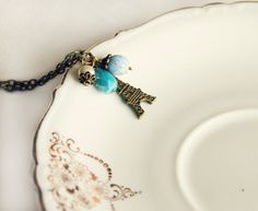 Eiffel Paris necklace 'In the foggy sky' blue dusk di PetiteFraise, €16,00