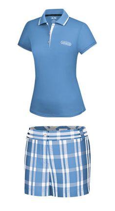 Adidas Junior Girls Golf Outfits (Shirt & Shorts) - Light Blue/White