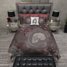 Dark Rose Cameo Skull Duvet Bedding Sets