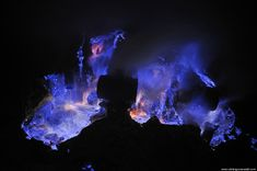 """did-you-kno: """" Neon blue lava pours from Indonesia's Kawah Ijen Volcano. The reason it's blue is because the mountain contains large amounts of pure sulfur, which emits an icy violet colors as it..."""
