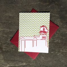 Tiny Dog Press - Baltimore Letterpress Card: Natty Boh Tower, single card with envelope