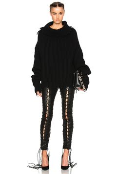 Image 5 of Unravel High Neck Oversized Rib Knit in Black