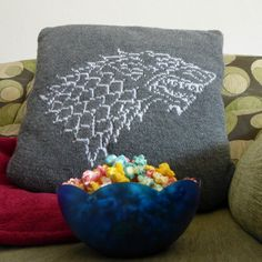 """Kntting Pattern House Stark Cushion with direwolf on front and """"Winter is coming"""" on back   Game of Thrones Knitting Patterns   In the Loop Knitting"""