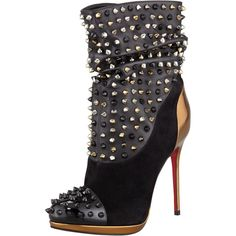 """just for those perfect occasions where your boots say, """"I'm fabulous, and I kick ass! Spike Wars Red Sole Ankle Bootie, Version Black by Christian Louboutin. Ankle Booties, Bootie Boots, Giuseppe Zanotti Heels, Jimmy Choo, Sexy Boots, Black Boots, Hot Shoes, Shoes Heels, Pumps"""