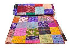 AndExports - Sari-Patchwork-Khanta-Tagesdecke, Queen Size, mehrfarbig, wendbar, indische Seide, Sari Patola Decke, Kunsthandwerk, traditionelle Kantha-Tagesdecke, indische handgefertigte Gudri Tagesdecke, einzigartiges Beispiel von manueller Kunstfertigkeit AndExports http://www.amazon.de/dp/B00R07MM3O/ref=cm_sw_r_pi_dp_M1VWwb03YZBQB