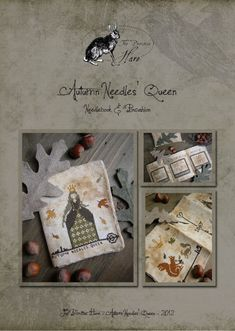 Primitive cross stitch pattern: Autumn Needles' Queen. $13.00, via Etsy.