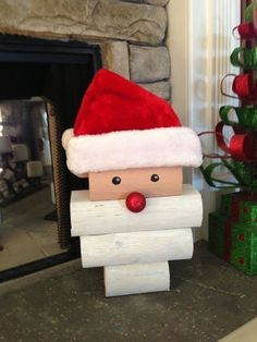 Wooden Santa made from landscape timber!