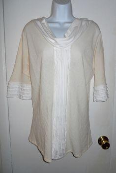 Oh My Gauze! cowl cream white Florida top shirt sz S #OhMyGauze #Tunic