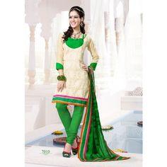 Elegant Designer Chanderi Cotton Embroidered Semi Stitched Suit D.NO S7010