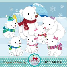 Snow Bear Digital Clipart Set-Polar Bear digital clipart -Polar bear family-Personal and Commercial Use