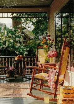 porch, rocking chair and flowers