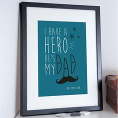 Father's Day personalised poster print for dad - My Hero Typography Poster. Our posters and prints make the perfect personalised gift for dads Unique Gifts For Dad, Personalized Gifts For Dad, Diy Gifts For Dad, Personalized Posters, Typographic Poster, Typography, Fathers Day Poster, My Dad My Hero, Father's Day Diy