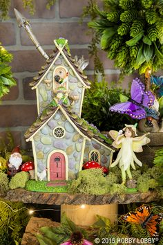 Guests will delight in this whimsical tea party, complete with miniature gnomes, fairies and animals in attendance. You'll find these fairy friends and more in the Floral department!