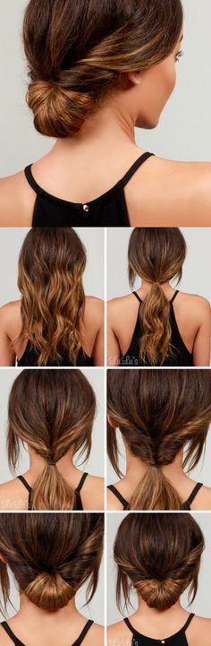 LuLu*s How-To: Simple Chignon Hair Tutorial(Curly Hair Styles) Five Minute Hairstyles, Easy Summer Hairstyles, Haircuts For Long Hair, Quick Hairstyles, Hairstyles 2016, Hairstyle For Long Hair, Low Pony Hairstyles, Braided Hairstyles, Night Hairstyles