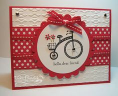 handmade card ... luv the old-fashioned bike image ... red and white ... bands of ribbon ... Stampin' Up!