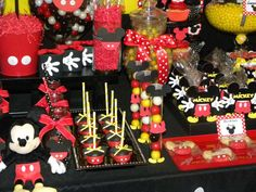 Favors and sweets at a Mickey Mouse birthday party! See more party ideas at CatchMyParty.com!