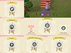 All designs uploaded under my creator ID and arrows as - ACQR island path designs Animal Crossing Guide, Animal Crossing Qr Codes Clothes, Map Logo, Ac New Leaf, Marker, Path Design, Sign Design, Motifs Animal, Island Design
