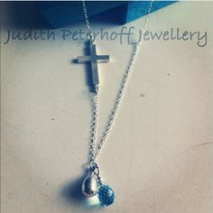 Bespoke Cross Necklace with Blue Topaz Briolette, beautiful present for a new baby or holy communion