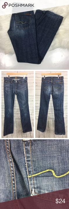 """7 for all mankind bootcut medium wash jeans Women's 7 for all mankind dark wash bootcut jeans. size 28. some wear to bottom of jeans. please see photos.  waist laying flat-16"""" inseam-34"""" 7 For All Mankind Jeans Boot Cut"""