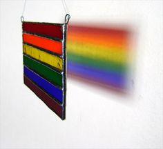 Rainbow Flag Pride Stained Glass Gay Birthday by GothicGlassStudio