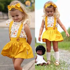 3PCS Toddler Kids Baby Girl Summer Clothes T-shirt Tops+Skirt+Headband Outfit US #Divawear