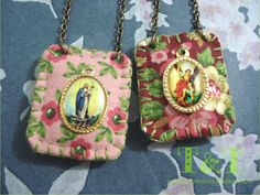 Textile Jewelry, Fabric Jewelry, Diy Jewelry, Beaded Jewelry, Jewelry Making, Faith Crafts, Mary And Martha, Catholic Crafts, Crafts For Seniors