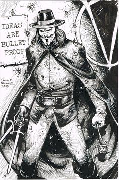 DC COMICS: V pour Vendetta par Freddie E. Williams II  Lire l'article source sur: http://www.dcplanet.fr/166319-dc-fan-arts-186