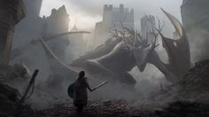 Approaching a Dragon , JAN DITLEV on ArtStation at https://www.artstation.com/artwork/approaching-a-dragon