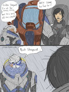 """jo-nah: """" Puppy-dog eyes + risk of drowning in armor = Sorry Garrus, Shep's still going diving Continued from this. I think I'm done with this joke though. Mass Effect Comic, Mass Effect Funny, Mass Effect Garrus, Mass Effect Art, Mass Effect Universe, Fandom Games, Puppy Dog Eyes, Dragon Age, Anime Comics"""