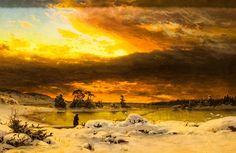 Fanny Churberg (Finnish, 1845 - Winter landscape, evening (via Finnish National Gallery) Albert Bierstadt, August Sander, Camille Claudel, Helsinki, Seascape Paintings, Landscape Paintings, Charles Angrand, Jules Cheret, National Gallery