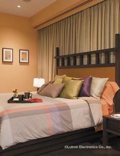 Lutron light and shade controls can create the perfect ambiance for any room. Find inspiration in this gallery of photos from residential homes. Orange Bedroom Walls, Peach Bedroom, Bedroom Wall Colors, Orange Walls, Bedroom Ideas, Master Bedroom, Bedroom Decor Lights, Bedroom Lighting, Pintura Exterior