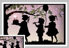 A unique paper cut birthday greeting card. The images is from my original paper cutting of children celebrating a birthday with cake and balloons! This a 5x7 card with envelope in a cello sleeve. These images were all originally hand cut using small scissors. Over and underlayment of various colored papers embellishes the image. A perfect card to frame