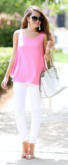 Bubblegum Pink Tank White Skinnies White Sandals                                                                             Source