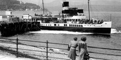Old photograph of a paddle steamer by Dunoon, Argyll, Scotland