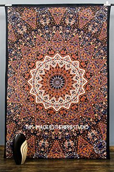 Kaleidoscopic Star Tapestry Intricate Floral Design Indian Bedspread Hippie Mandala Tapestries Wall Hangings Boho Tapestry Throw Tapestries for Dorms ** Click image to review more details.