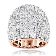 3.25 Karat Diamantring 585er Rosegold Pavée-Style