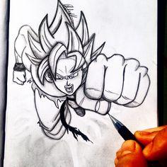 Art by Alex Khleif. Pencil sketch of goku from dragon ball z in super saiyan form flying punching