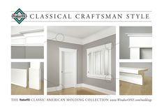 Historically accurate moldings, from the WindsorONE Molding Catalog. Floor to ceiling room of Classical Craftsman style. Moldings designed by Brent Hull. #moldings #craftsman #ClassicalCraftsman