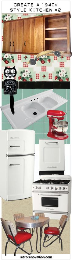 Create a 1940s or early 1950s design kitchen - my second mood board - Retro Renovation