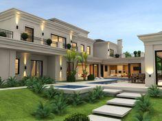 167 dream house exterior design ideas to inspire you -page 38 > Homemytri. Modern Exterior House Designs, Classic House Exterior, Classic House Design, Design Exterior, House Front Design, Dream Home Design, Modern House Design, Luxury Homes Exterior, Villa Design