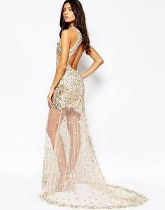 A Star Is Born Luxe Embellished Mesh Maxi Dress w/ Jewelled Red Carpet Hem UK 8 | eBay