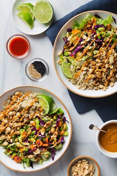 30 minute Vegan Thai Salad with protein-packed tempeh, lots of bright, crunchy vegetables, and crave-worthy homemade peanut sauce.
