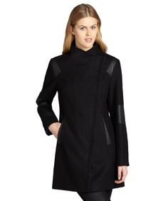 Calvin Klein black asymmetrical wool coat with faux leather trim | BLUEFLY up to 70% off designer brands