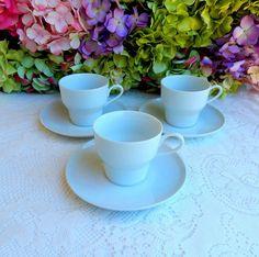 3 Contempri White Paul McCobb Jackson China Cups & Saucers ~ Retro ~ Mid Century #JacksonInternationale