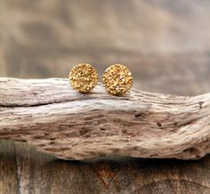 Tiny Gold Titanium Post Stud Earrings  Circle  by MesaBlue on Etsy